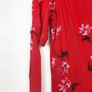 H&M Dresses - H&M Red Short Sleeved Maxi Button Floral Dress